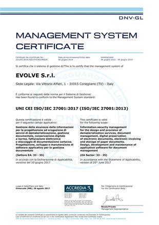 CERTIFICATO EVOLVE ISO/IEC 27001 CERTIFICATOEVOLVEISO27001_66_1.png (Art. corrente, Pag. 1, Foto evidenza)