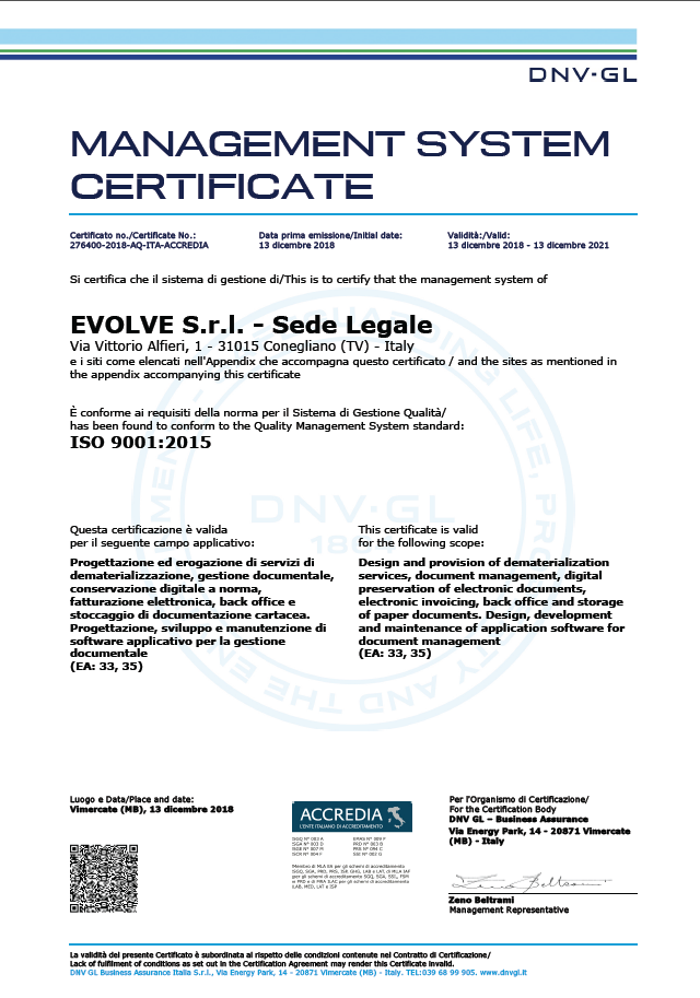 CERTIFICATO EVOLVE ISO 9001